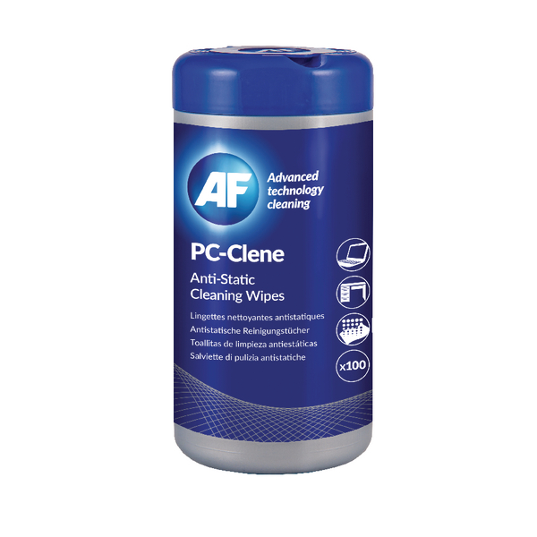 AF PC-Clene Anti-Static Cleaning Wipes Tub (100 Pack) PCC100 (NSW)
