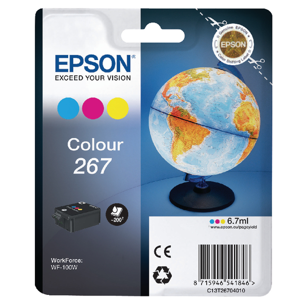 Epson 267 Cyan/Magenta/Yellow Ink Cartridge C13T26704010 / T2670