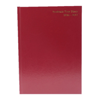 *Academic A5 Day To A Page Diary Burgundy 2016-2017