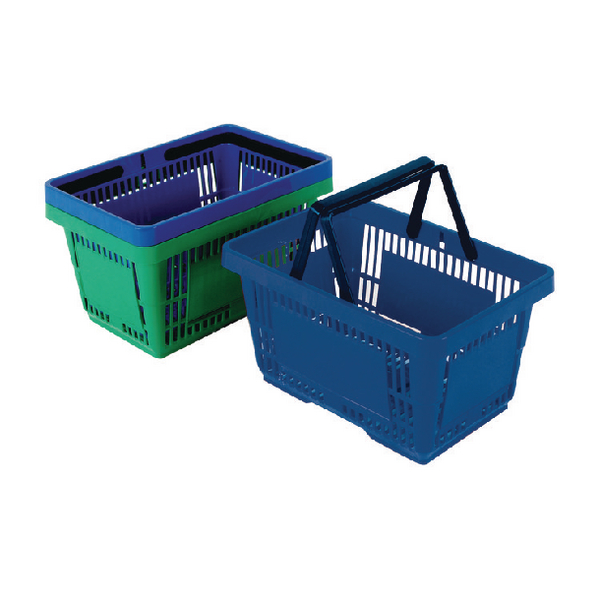 Plastic Shopping Basket Blue (Pack of 12) 370766