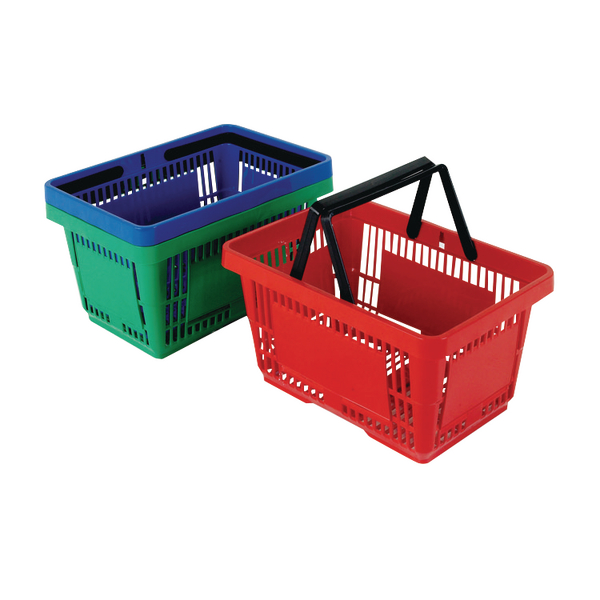 Plastic Shopping Basket Red Pack of 12. 370768.