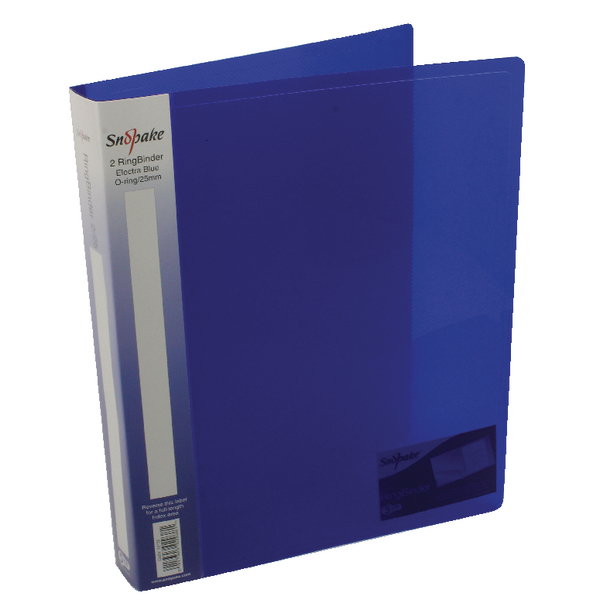 Snopake Polypropylene Ring Binder 2 Ring A4 25mm Electra Blue (Pack of 10) 10159