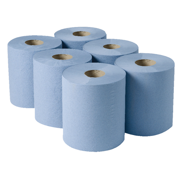 2Work 3-Ply Centrefeed Roll 135m Blue (Pack of 6)