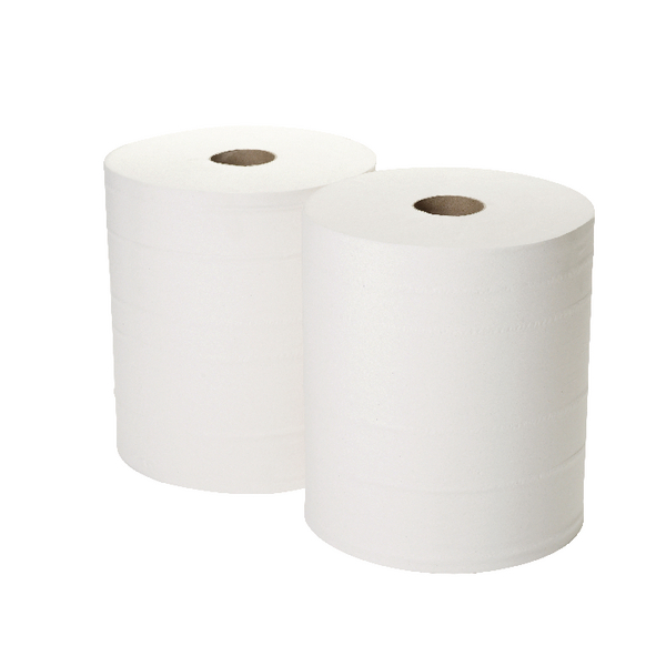 2Work 2-Ply Forecourt Roll 260m White (Pack of 2) 1WH100