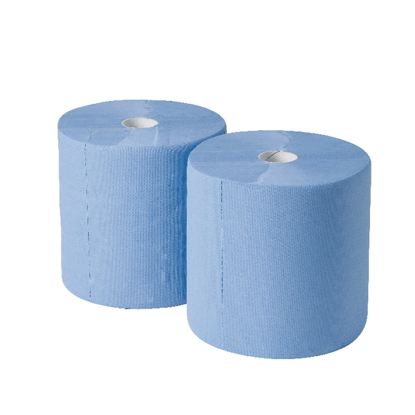 2Work 170mx250mm 3-Ply Blue Industrial Roll (Pack of 2) GEM503B