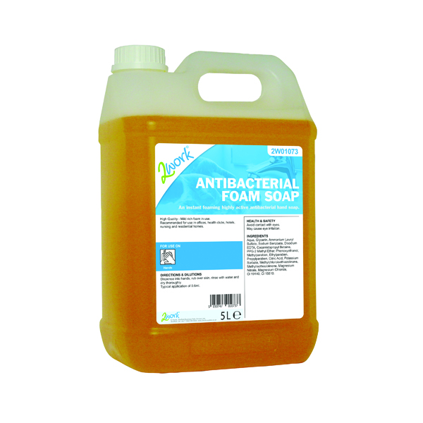 2Work Antibacterial Foam Soap 5L