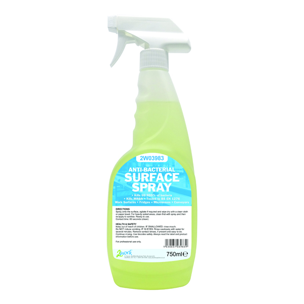 2Work Antibacterial Sanitiser Spray 750ml
