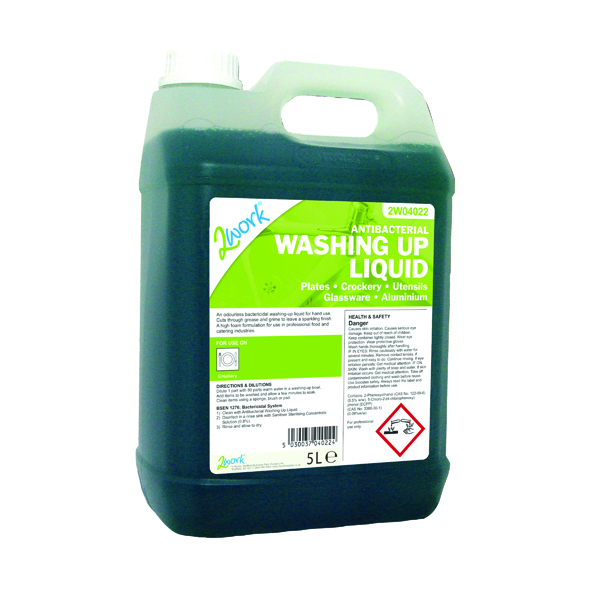2Work Antibacterial Washing Up Liquid 5 Litre 2W04022