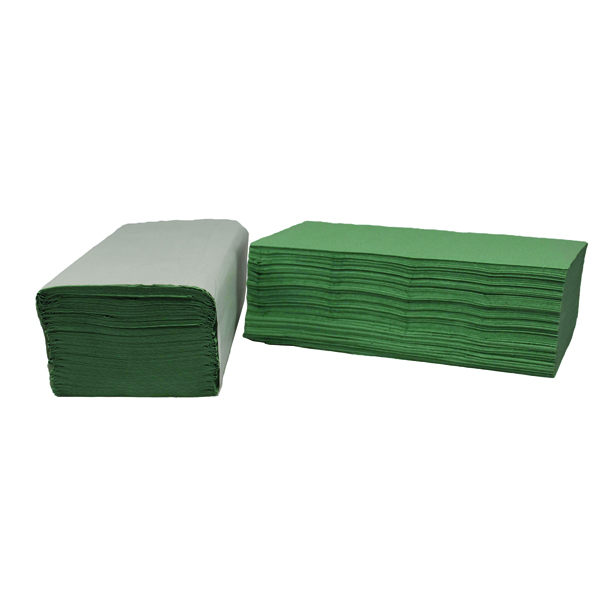 2Work 1-Ply I-Fold Hand Towels Green (Pack of 3600)