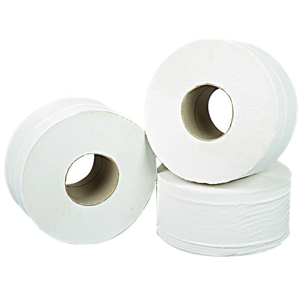 2Work 2-Ply Mini Jumbo Toilet Roll White (Pack of 12) J27200VW