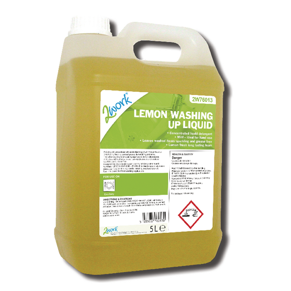 2Work Washing Up Liquid Lemon 5 Litre 401