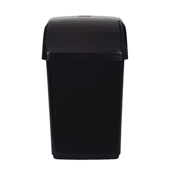 2Work Swing Top Bin 10 Litre Black 2W810010