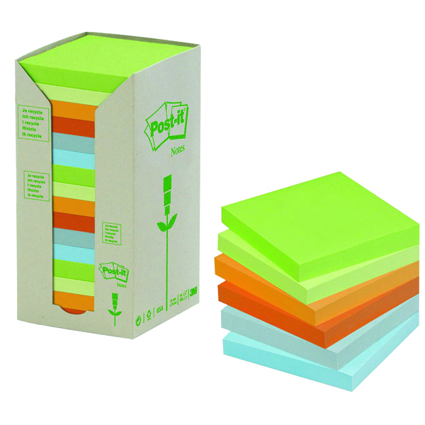 Post-it Notes Recycled Tower Pack 76 x 76mm Pastel Rainbow (Pack of 16) 654-1RPT