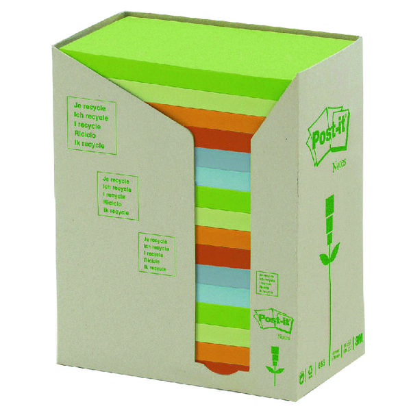 Post-it Notes Recycled Tower Pack 76 x 127mm Pastel Rainbow (Pack of 16) 655-1RPT