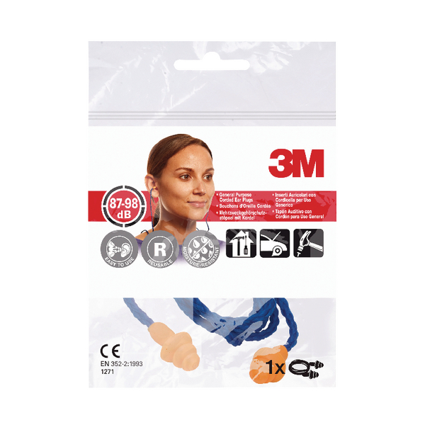 3M Corded Reusable Ear Plugs 1271 87-98dB XA004837929