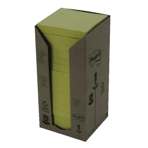 Post-it Notes Recycled Tower Pack 76 x 76mm Canary Yellow (Pack of 16) 654-1T