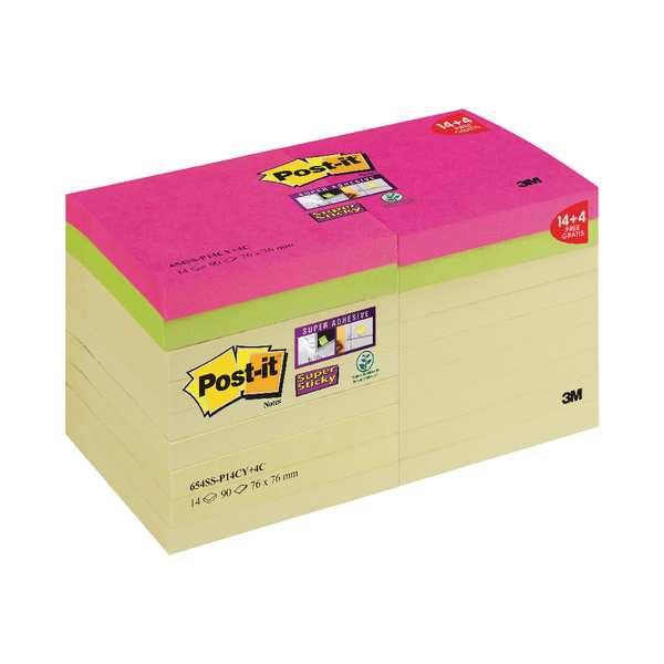 Post-it Notes Super Sticky 76 x 76mm Canary Yellow (Pack of 18) 654SS-P14CY+4C