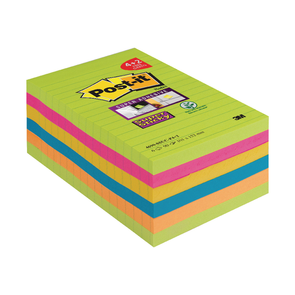 Post-it Super Sticky Notes XXL Pk 6