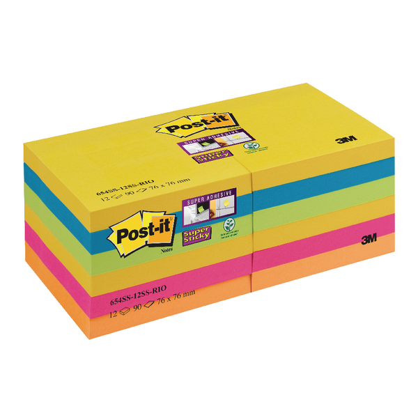 Post-it Super Sticky Notes Rio Color Collection 76 x 76mm (Pack of 12) 654-12SS-RIO