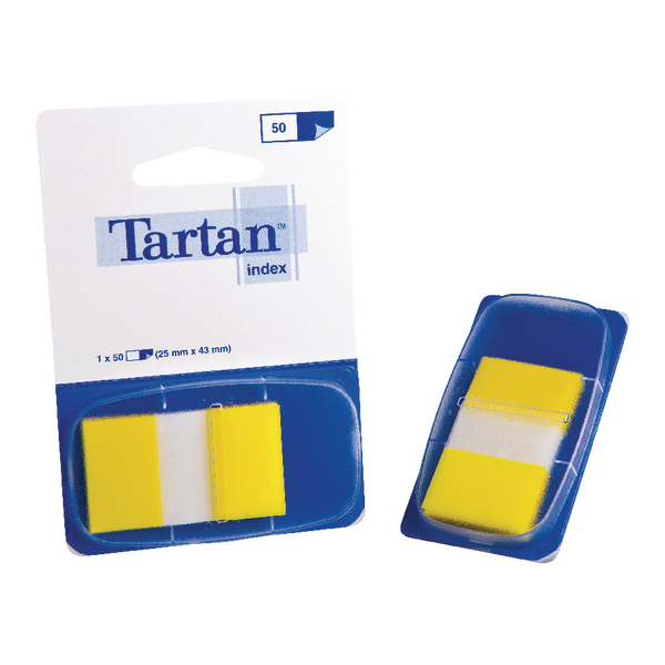 Tartan Index Tab Dispenser 25x43mm 50 Sheet Yellow 70005019800