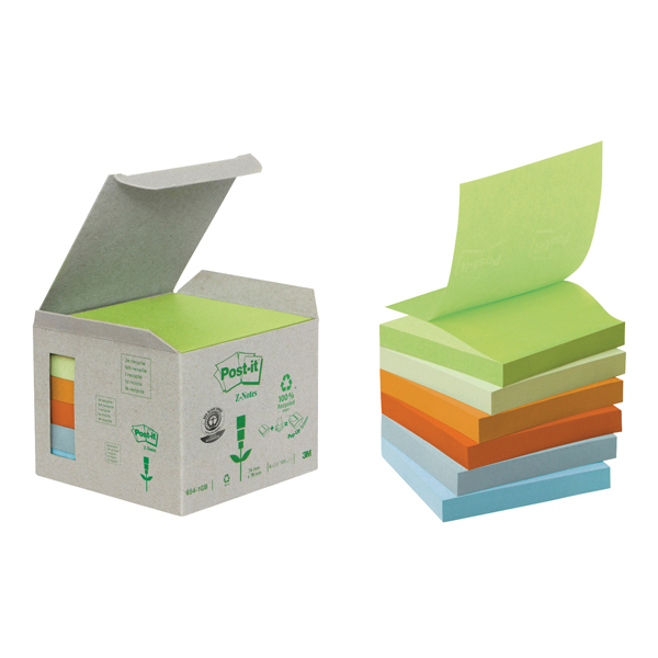 Post-it Note Recycled Z-Notes 76 x 76mm Pastel Rainbow (Pack of 6) R330-1GB