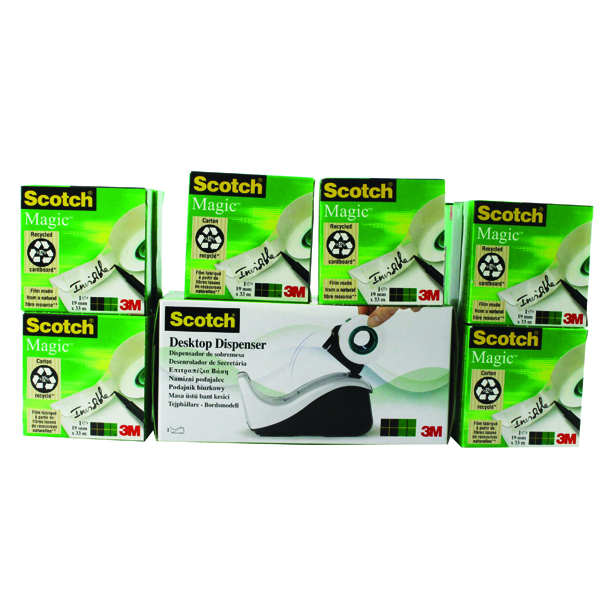 Scotch Magic Tape 19mm x 33m Pack of 16 with Free Black and Silver Dispenser 8-1933R16060
