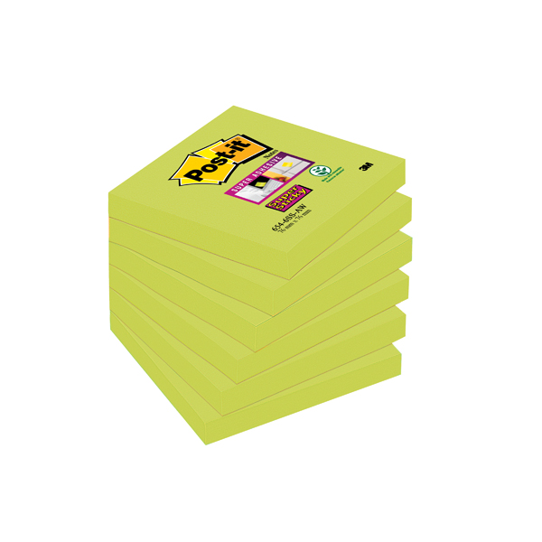 Post-it Notes Super Sticky 76 x 76mm Asparagus (Pack of 6) 654-6SS-AW