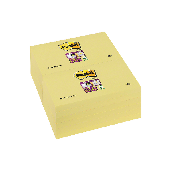 Post-it Notes Super Sticky 76 x 127mm Canary Yellow (Pack of 12) 655-12SSCY