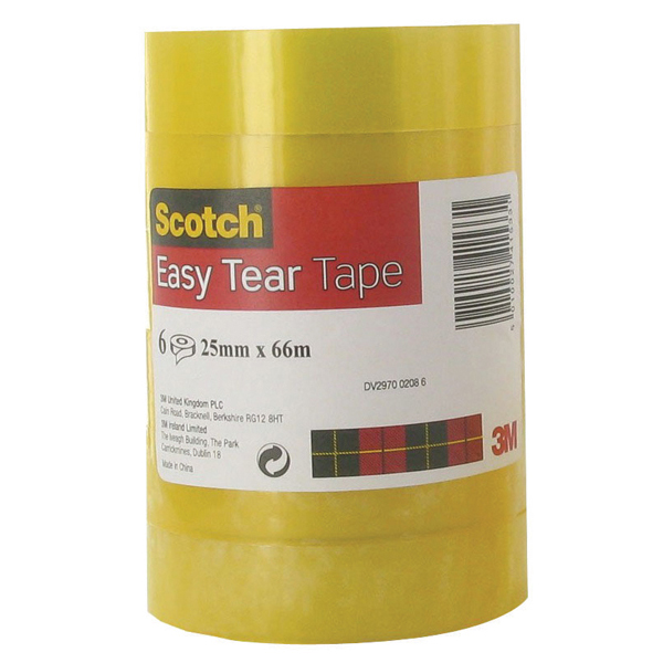 Scotch Easy Tear Clear Tape 25mm x 66m (Pack of 6) 3 For 2