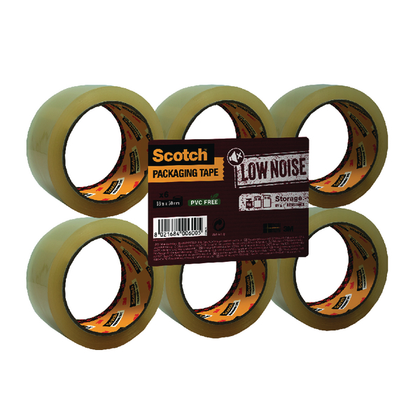 Scotch Packaging Tape Low Noise 48mm x 66m Clear (Pack of 6) 3707