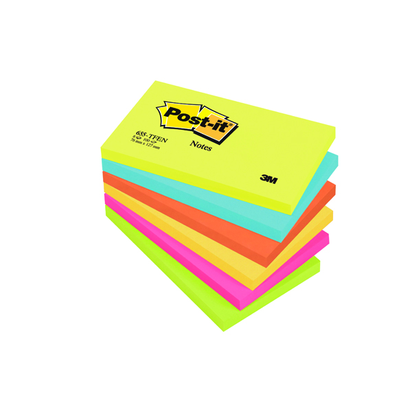 3M POSTIT ENERGETIC COLOURS PK6 76X127MM