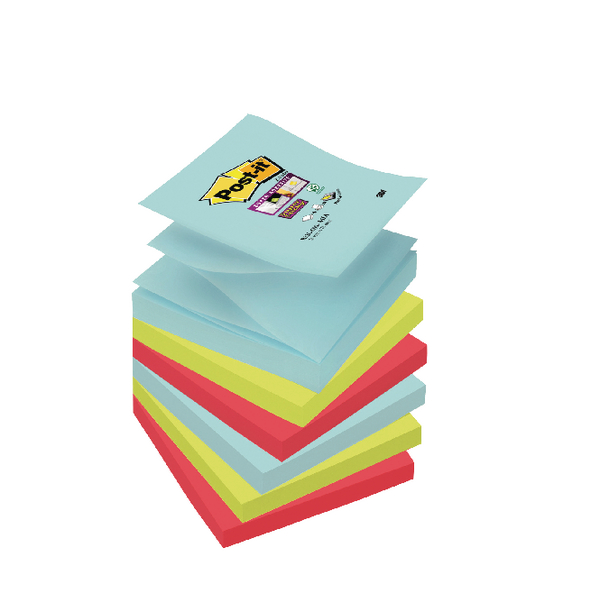 Post-it Super Sticky Z-Notes 76 x 76mm Miami Collection (Pack of 6) R330-6SS-MIA