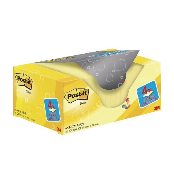 Post-it Notes 38 x 51mm Canary Yellow Value (Pack of 20) 653CY-VP20