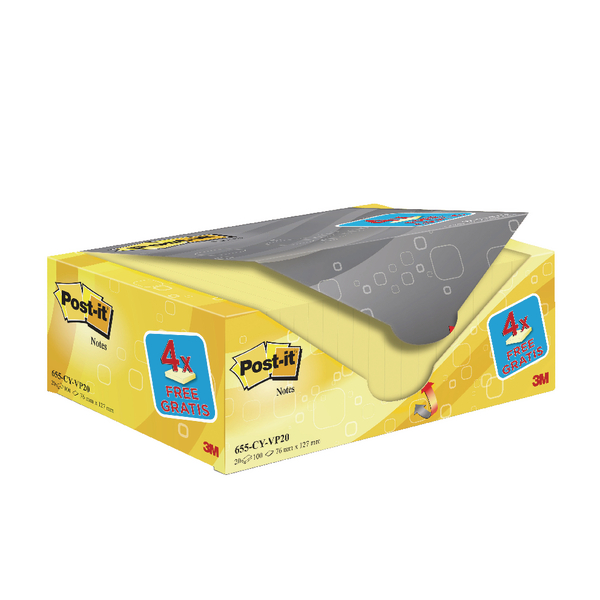 Post-it Notes 76 x 127mm Canary Yellow Notes Value (Pack of 20) 655CY-VP20