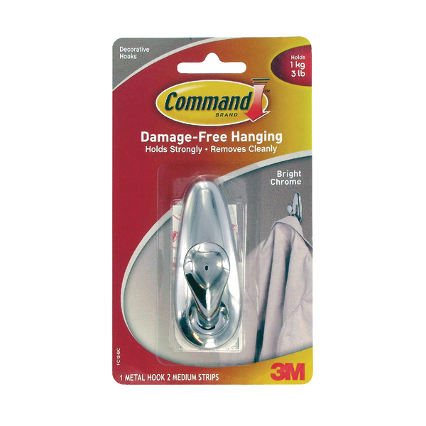 3M Command Med Chrome Hook/Command Strip