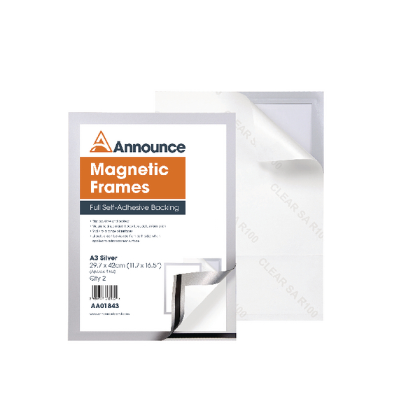 Announce Magnetic Frames A3 Silver (Pack of 2) AA01843