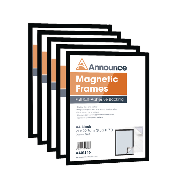 Announce Magnetic Frame A4 Black (Pack of 5)