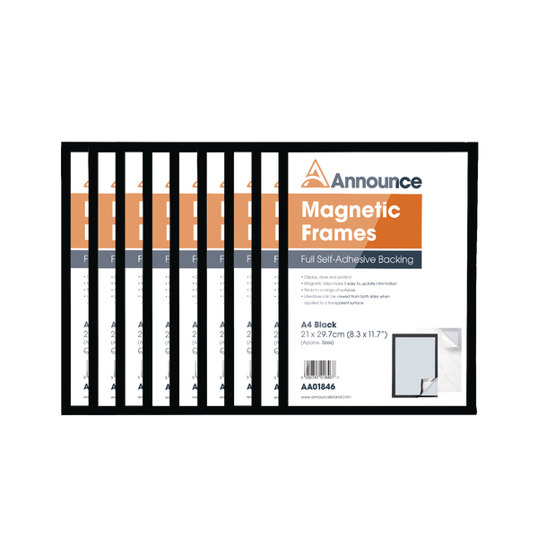 Announce Magnetic Frames A4 Black (Pack of 10)