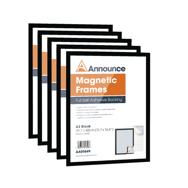 Announce Magnetic Frame A3 Black (Pack of 5)