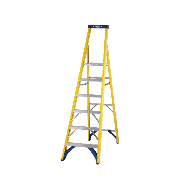 Abru Fibreglass Platform Stepladder 6 Tread Yellow 71706