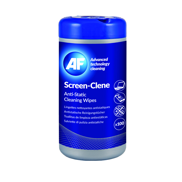 AF Screen-Clene Anti-Static Screen Wipes Tub (Pack of 100) ASCR100T