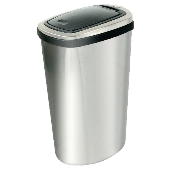 Addis 40 Litre Deluxe Rectangular Press Top Bin Matt Stainless Steel 508418