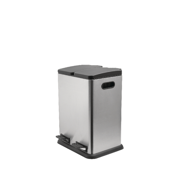 Addis Twin Compartment 40 Litre Recycling Pedal Bin Stainless Steel 514922
