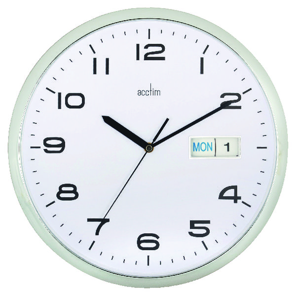 Image for Acctim Chrome/White Supervisor Wall Clock 320mm 21027