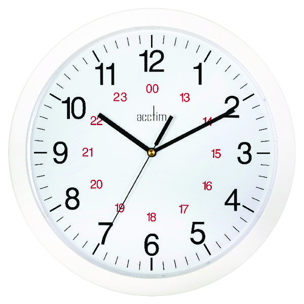 Image for Acctim Metro 24 Hour Plastic Wall Clock 300mm White 21162