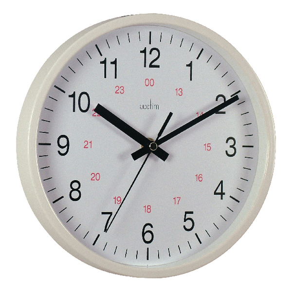 Image for Acctim Metro 24 Hour Plastic Wall Clock 355mm White 21202