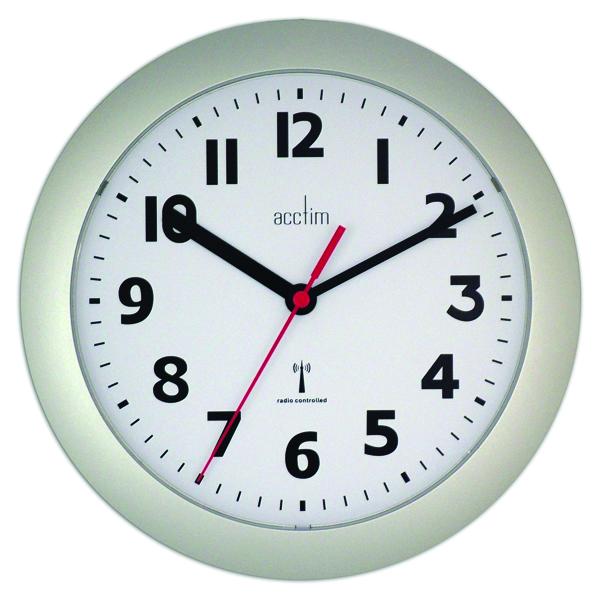 Acctim Silver Parona Radio Controlled Plastic Wall Clock 74317
