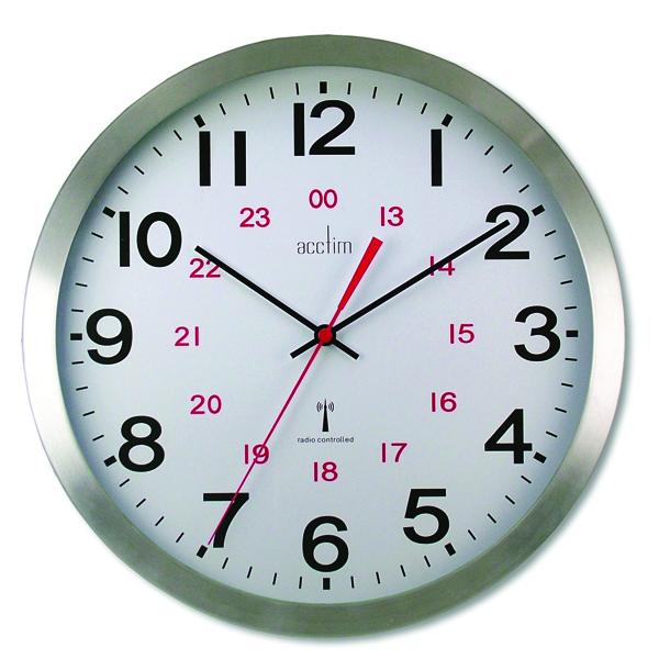 Acctim Aluminium Century 24 Hour Radio Controlled Clock 74457
