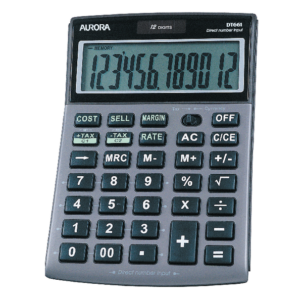 Aurora Grey/Black 12-Digit Semi-Desk Calculator DT661