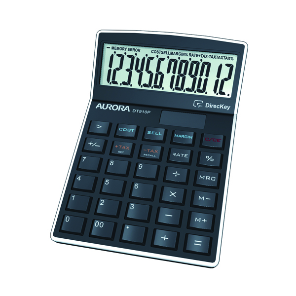 Aurora Black 12-Digit Semi-Desk Calculator DT910P